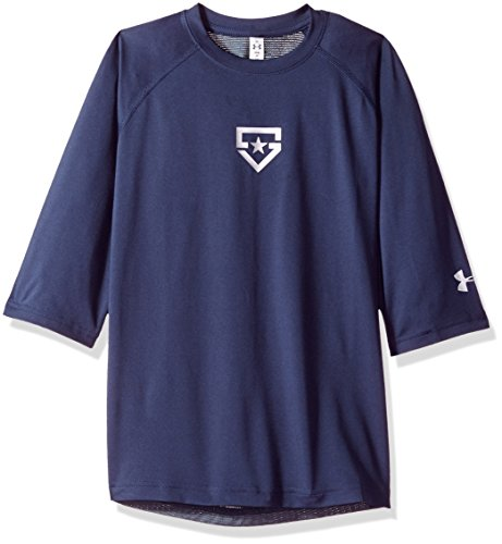 - Boy's Under Armour Boys' Heater 3/4 sleeve T-Shirt, Midnight Navy (410)/Silver, Youth Large
