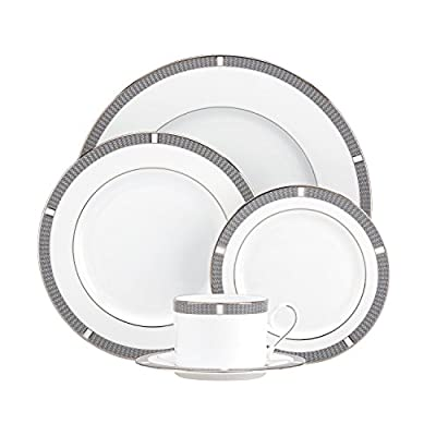 Lenox Sophisticate 5-Piece Place Setting, Silver - Crafted of white bone china with platinum accents Dishwasher safe Made in USA by Lenox - kitchen-tabletop, kitchen-dining-room, dinnerware-sets - 41vX6V%2BapsL. SS400  -