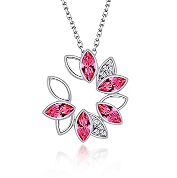 NEW Womens Flower Hot Pink Crystal Rhinestone Silver Chain Pendant Necklace