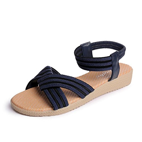 WINWINTOM Mujeres Plana de Zapatos Dama Sandalias Peep Toe Striped Bohemia Ocio Zapatos Al Aire Libre (41, Azul)