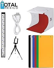 Caja de luz para fotografia Kit de Estudio fotografico portatil con iluminación LED + 6 Fondos de Diferentes Colores y Gratis un tripie para Celular. (1 Tira LED)