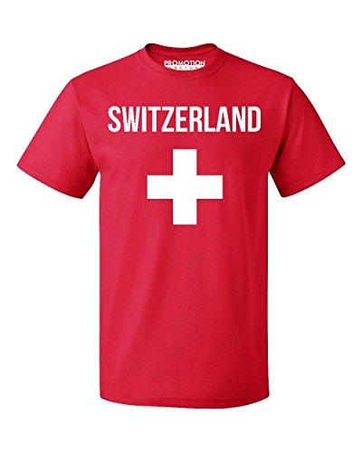 Switzerland Flag T-shirt (Promotion & Beyond Choose Your Country Flag Switzerland Men's T-Shirt, L, Red)