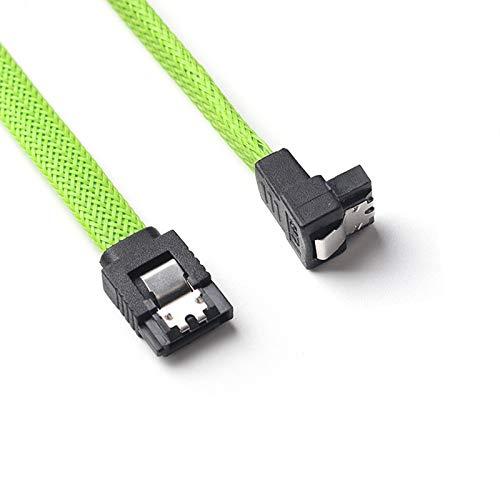 Vert s Cordon de donnees pour Disque Dur avec Gaine en Nylon Moligh doll 50CM SATA 3.0 III SATA3 Cable de donnees a 7 Broches SSD a Angle Droit 6Gb