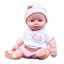 Joykit Reborn Baby Doll, 12 Inch Lifelike Reborn Baby Doll Soft Vinyl Silicone Lifelike Sound Laugh Cry Newborn Baby Toy for Boys Girls Birthday Gift Green Pink Yellow (Pink)