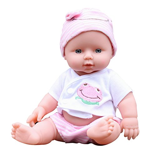 Ovovo Reborn Newborn Doll Soft Vinyl Silicone Lifelike Sound Laugh Cry Reborn Kid Doll for Boys Girls Gift - 12 inches(Pink)