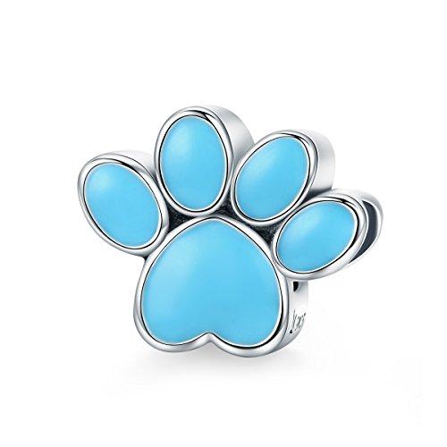 Everbling Dog Paw Print Blue Enamel 925 Sterling Silver Bead Fits European Charm Bracelet