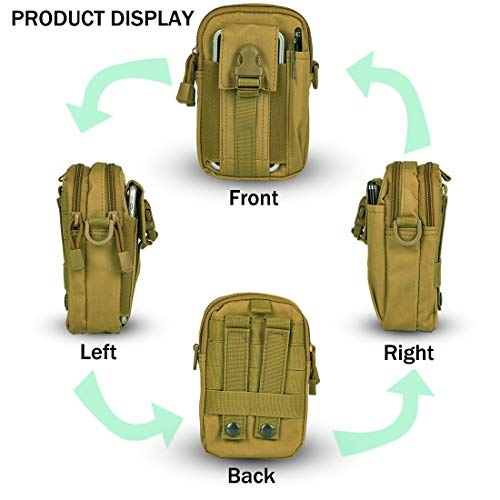 VIDISA Tactical Molle EDC Utility Pouch Gadget Belt Waist Bag with Cell Phone Holster Holder-Khakhi