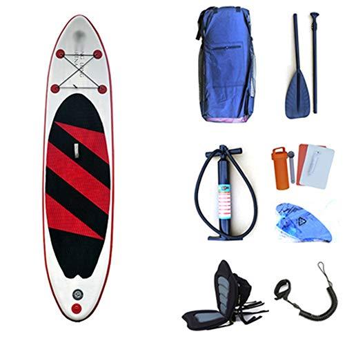 NgMik-Wassersport-Surfbretter-Das-tragbare-aufblasbare-See-Reise-Stand-uppaddleboard-SUP-mit-Speicherrucksack-Leine-paddel-und-pumpe-Farbe-Red-with-seat-Gre-320x76x15cm