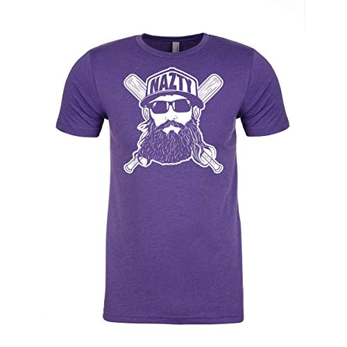 - Fanbuild Fear The Nazty Baseball Hat Beard Ringspun T-Shirt (Medium, Purple)