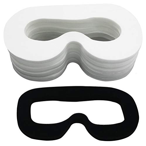 Lunies Disposable Cover Mask with Sponge Mat and Magic Sticks Replacement for H-T-C Vive VR Virtual Reality Headset - Prevent Eye Infections White (100PCS)