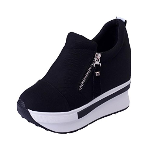 a5836fff3300 TOPUNDER Women Wedges Boots Platform Shoes Slip on Ankle Boots Fashion  Casual Black
