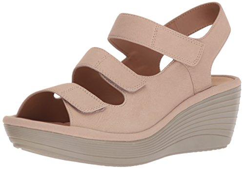 CLARKS Womens Reedly Juno Wedge Sandal, Sand Nubuck, 9.5 Wide US