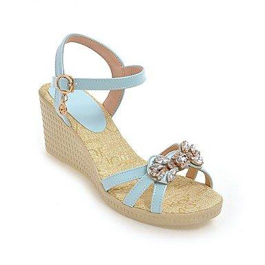 LvYuan Mujer-Tacón Cuña-Suelas con luz Confort-Sandalias-Exterior Vestido Informal-Semicuero-Azul Rosa Blanco Blue