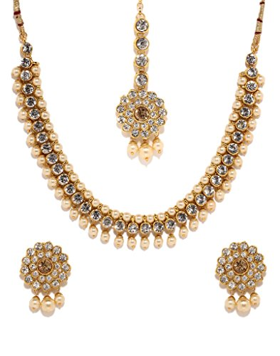Bindhani Indian Bollywood Gold Plated Kundan Bridal Wedding Necklace Earrings Jewelry Set for Women