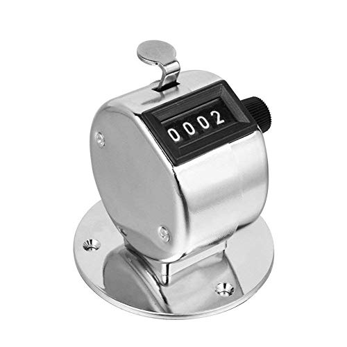 Desk Tally Counter with Stand, Metal Desktop Mechanical Tally Meter with Base Mount, Resettable Manual 4 Digit Registers 0-9999 Clicker Counter with Chrome Plated for Bank Counter ()