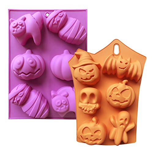Halloween Silicone Mold Set of 2 Chocolate Molds Silicone Baking Mold Soap Maker Candy Making Moulds with Pumpkins Skulls Ghosts Bats Cats Mummies Halloween Party Supplies (2 PCS Halloween Molds) -