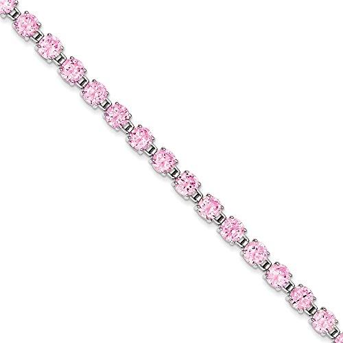 """Argent Sterling CZ Bracelet Rose 7 """"- Pliable-JewelryWeb de capture"""