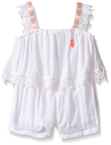 U.S. Polo Assn. Baby Girls' Gauze Romper With Scallop Edge Lace Trim, White, 24 Months - Edge Romper