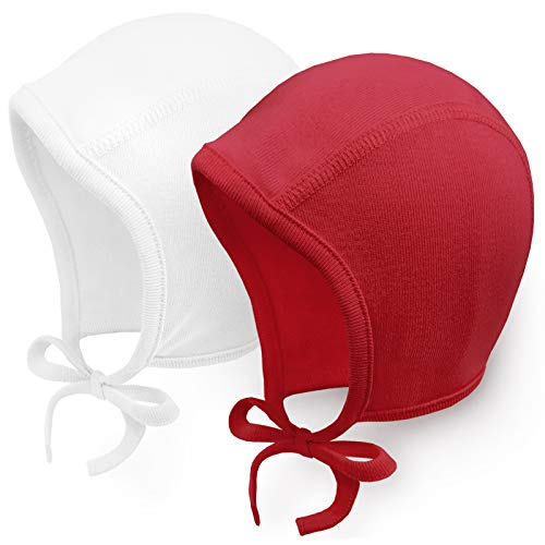 Happy Tree 2 Pack Baby Hat Bonnet Soft 100% Combed Cotton Toddler Infant Beanie Pilot Caps, White + Red, Large -