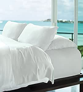 Cariloha Resort Bamboo Sheets by 4 Piece bed Sheet Set - Luxurious Sateen Weave - 100% Viscose From Bamboo Bedding (White, King)