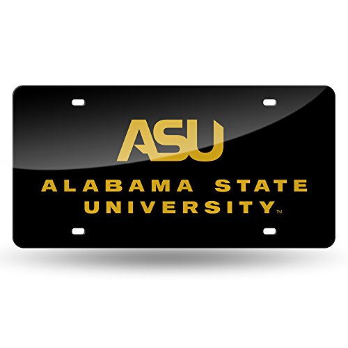 Rico NCAA Alabama State Hornets Laser Inlaid Metal License Plate Tag, Black by Rico