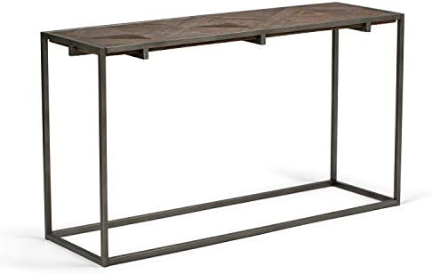 Simpli Home Avery SOLID WOOD and Metal 54 inch Wide Modern Industrial Console Sofa Entryway Table in Distressed Java Brown Wood Inlay , for the Living Room, Entryway and Bedroom