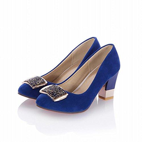 Carol Scarpe Moda Donna Lucido Strass Medaglione Polsino Grosso Tacco Alto Pompa Scarpe Da Sera Blu