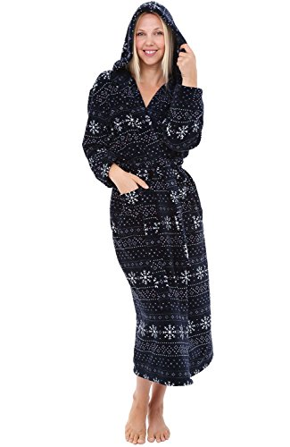 Alexander Del Rossa Womens Plush Fleece Robe with Hood, 3X 4X Navy Blue with Nordic Snowflakes (A0116R754X)