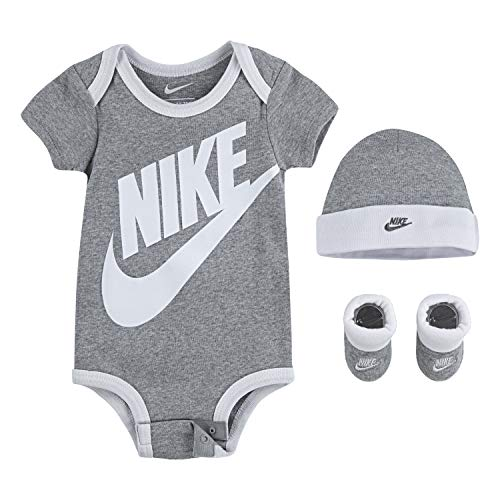 NIKE Children's Apparel Baby Hat, Bodysuit and Bootie Three Piece Set, Grey Sportswear, 0/6M
