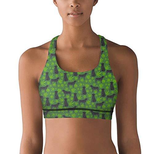 Womens Yoga Bra Cannabis Leaf Dog Green Racerback Stretch New Athletic Tops