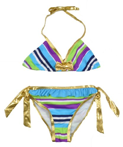 Baby Phat Girls Blue & Multicolor Striped 2Pc Swimsuit (4)