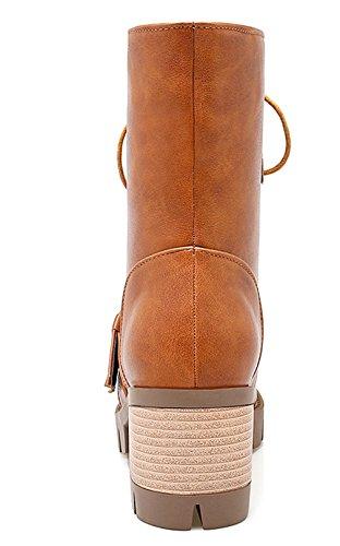 YE Damen Chunky high heel Plateau Stiefeletten mit Blockabsatz Schnürsenkel Ankle Boots 6cm Absatz Herbst Winter Schuhe Braun