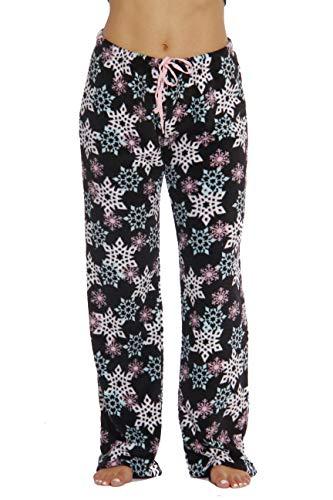 10 Inch Plush Snowflake - 6339-10167-3X Just Love Women's Plush Pajama Pants - Petite to Plus Size Pajamas,Black - Snowflake,3X Plus