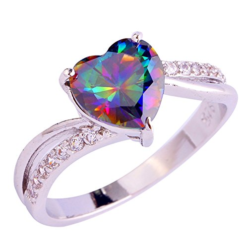 Psiroy 925 Sterling Silver Created Rainbow Topaz Filled Heart Shaped Promise - Promise Created Heart Diamond Ring