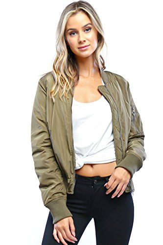 Califul Bomber Jacket with patches Short Vintage Coat (Large, - Football Green Olive