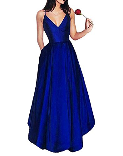 A-line Spaghetti Strap Evening Gown (Elleybuy Women's A Line Spaghetti Straps V neck Long Homecoming Cocktail Dresses US6)