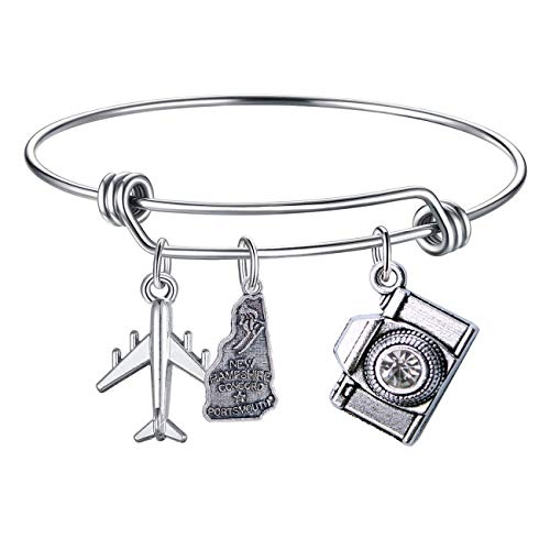 DYbaby Travel Bracelet US Map Charm and State Map Charm Expandable Wire Bracelet Necessary Gift for Travellers (New Hampshire) ()