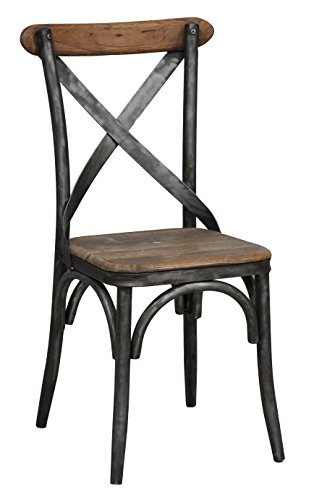 Kosas Home 53003560 Bentley Side Chair, Hand-Distressed Natural Finish with Black Base (Collection Distressed Black Finish)