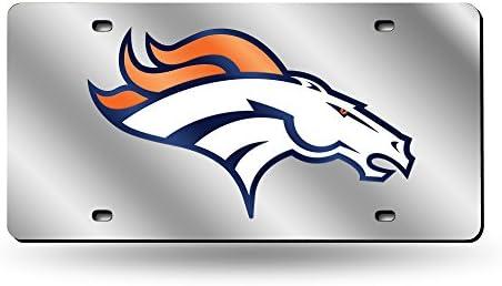 b46fd705e Amazon.com  NFL Denver Broncos Silver Mirrored License Plate  Automotive