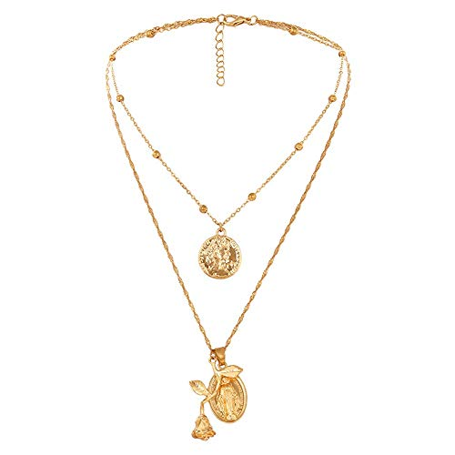 JINGB Gift Fashion Double Layer Rose Flower Jesus Pendant Chain Necklace Women Jewelry (Color : -