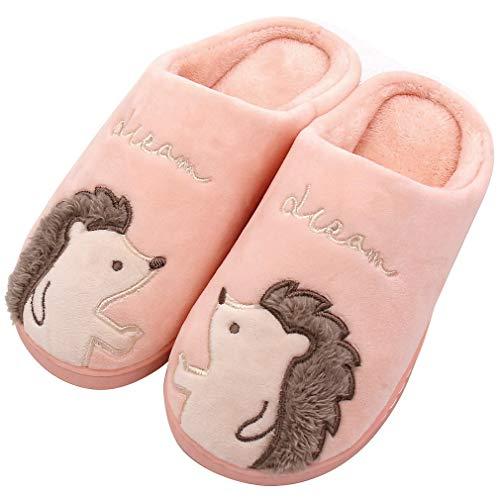 ALOTUS Women's Animal Hedgehog Soft Home Slippers Indoor Outdoor Pink
