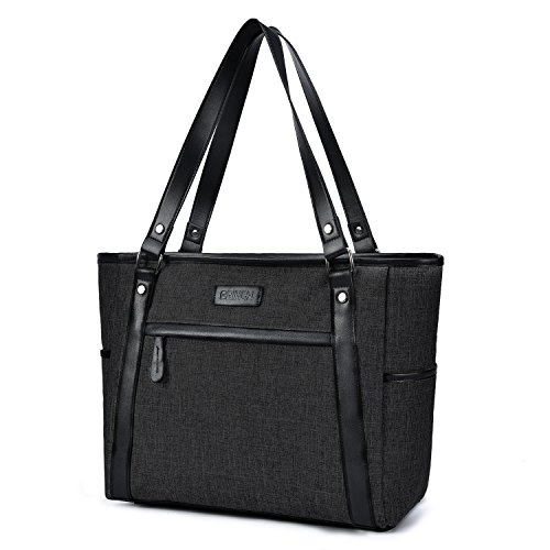 15.6 Inch Laptop Tote Bag Lightweight Stylish Satchel Women Durable Nylon Travel Bag Casual Shopping Handbag Large Capacity Business Briefcase Multi-Function Zipper Shoulder Bag,Black