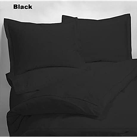 Luxury 600 Thread Counts 7pc Bed In A Bag With 300GSM Comforter Queen Size Black Solid 100 Egyptian Cotton By PARADISEHOUSE