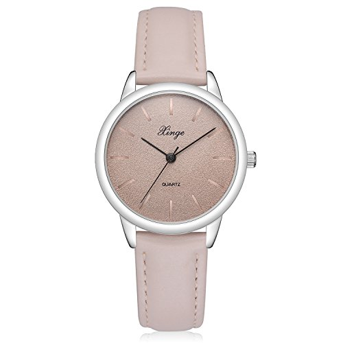 Womens Retro Casual Wrist Watch Simple Classic Analog Quartz Leather Band Watches (Beige)