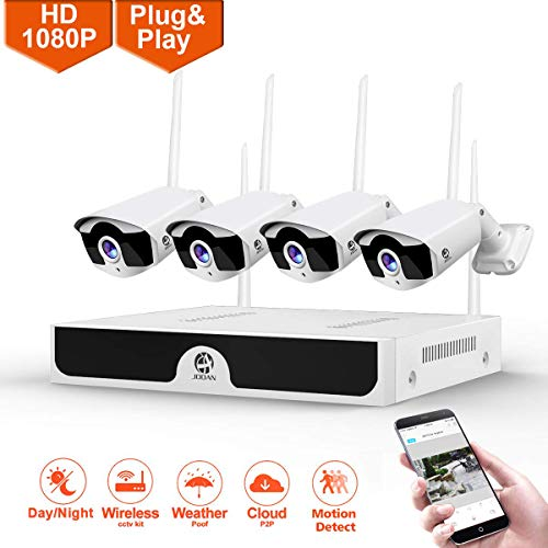Wireless Security Camera, JOOAN System 4 Channel 1080p Video Recorder CCTV NVR 4 x 2.0MP WiFi Outdoor Network IP Cameras Good Night Vision