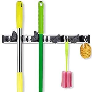 BAIESHIJI Broom Mop Holder, Wall Mounted Organizer Gardening Shed Tool Rack Garage Storage Hanger with 4 Positions 5 Hooks