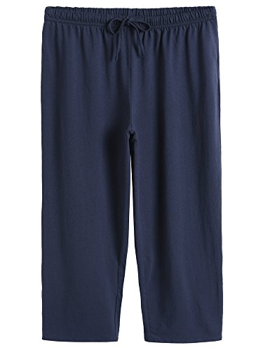 Latuza Women's Cotton Capri Pants Sleep Capris M Navy