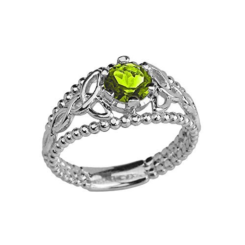 10k White Gold Modern Beaded Celtic Trinity Knot Engagement Ring with August Birthstone (Size 8.5)