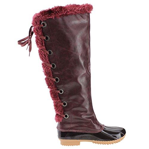 Nature Breeze FF70 Damen Knie High Lace Up isolierte Stiefel halbe Größe klein Burgund 15
