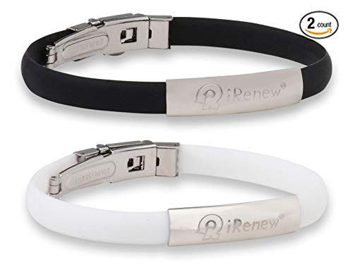 I-Renew iRenew Energized Well Being Health Fashion Bracelet (Black & White 2 Pack) May Promote: Strength, Balance and Endurance.